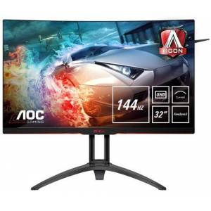 """AOC Gaming AG322QC4 - Écran LED - 31.5"""" - 2560 x 1440 QHD - VA - 300 cd/m² - 2000:1 - 4 ms - 2xHDMI, 2xDisplayPort, VGA - haut-parleurs - avec Re-Spawned 4 Year Advance Replacement and Zero Dead Pixel Guarantee / 1 Year One-Time Accident Damage Excha"""