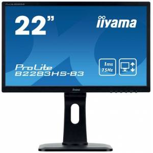 "iiyama ProLite B2283HS-B3 - Écran LED - 21.5"" - 1920 x 1080 Full HD (1080p) - TN - 250 cd/m² - 1000:1 - 1 ms - HDMI, VGA, DisplayPort - haut-parleurs - noir - Ecran PC"