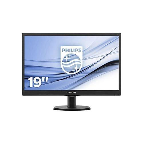 """PHLI Philips V-line 193V5LSB2 - Écran LED - 18.5"""" - 1366 x 768 - 200 cd/m² - 700:1 - 5 ms - VGA - noir texturé, ligne de contour noire - Ecran PC"""