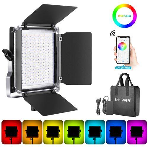 Neewer RGB 480 LED Vidéo Lumière avec Commande Par Smartphone APP, 28w Adjustable 7 Couleurs + Bi-Couleurs,CRI92,Luminosité 0% -100%,Coupeflux,LCD Ecran, Lampe RGB 480 - Autres
