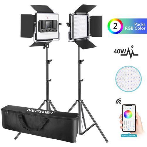 Neewer 2 Packs 660 RGB Led Lumière avec Contrôle APP, Kit d'Éclairage Vidéo avec Supports et Sac, 660 SMD LEDs CRI95 3200K-5600K, Luminosité 0-100%, 0-360 Couleurs Réglables, 9 Scènes Applicables - Autres