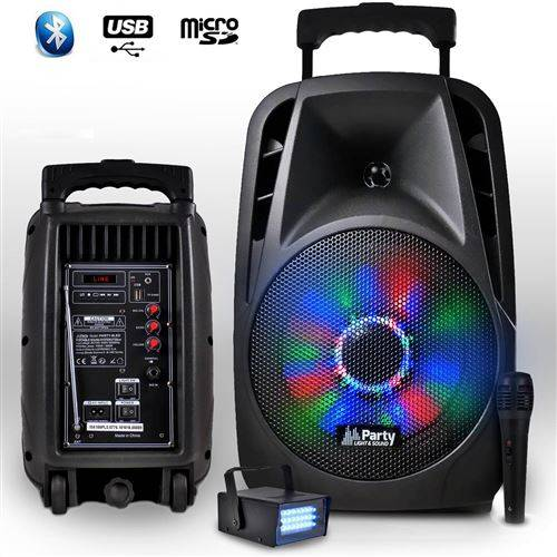 "Party Light & Sound Enceinte portable 8""""/20cm 300W à LEDs RVB avec USB/BLUETOOTH/FM/MICRO + mini LEDSTROBE - Enceinte sans fil"