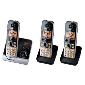 Panasonic KX-TG6723GB - Téléphone sans fil - système de répondeur avec ID d'appelant - DECT - noir + 2 combinés supplémentaires - Téléphone sans fil