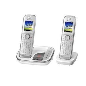 Panasonic KX-TGJ322GW - Téléphone sans fil - système de répondeur avec ID d'appelant - DECT - blanc + combiné supplémentaire - Téléphone sans fil