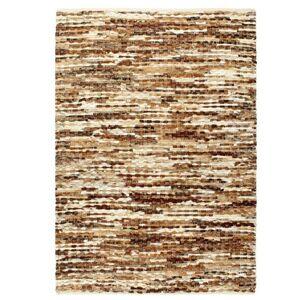 vidaXL Tapis à poils Cuir véritable 80x150 cm Marron/Blanc - Tapis et paillasson
