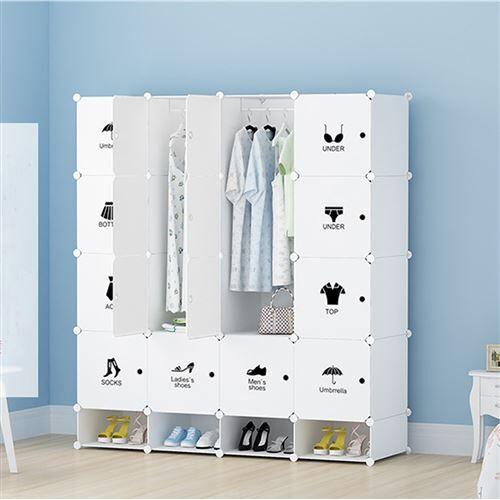 Non communiqué Armoires Etagères Plastiques - Penderie Plastiques, Meuble Rangement 16 Cubes Modulables + 4 Cubes Chaussures, Blanc - Armoire