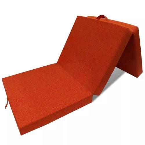 Non communiqué Meelady Matelas Pliant Lit Futon Pliable en 3 Sections Mousse 190 x 70 x 9 cm Orange (choix des couleurs) - Cadre de lit