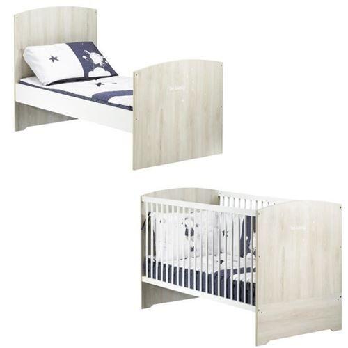 Sauthon BABYPRICE Lit Bébé Évolutif Little Big Bed Smile Hetre Cendré 140x70 cm - Lit pour enfant