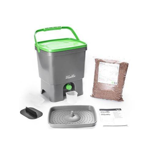 Vivre Mieux Composteur Bokashi Organico 16 litres Gris pour déchets cuisine avec activateur 1KG Gris - Accessoires de rangement