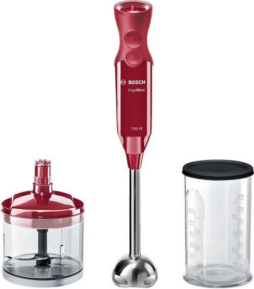 bosch msm67120r ergomixx – mixeur plongeant, 750 w, régulateur de vitesse et fonction turbo, coupole avec quatre lames, avec hachoir et bol de mixage, couleur rouge bordeaux - autres