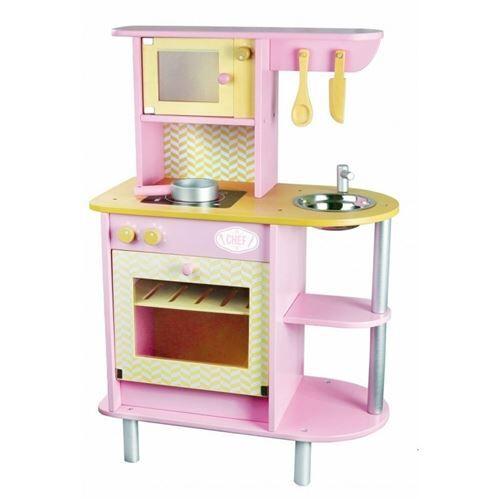 Vilac - Cuisine Pink, Cuisine En Bois Enfant, Dinette En Bois - Ménage nettoyage