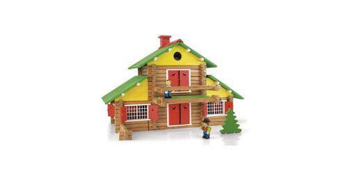 Jeujura Chalet en bois 240 pièces avec 4 personnages - Autres jeux de construction
