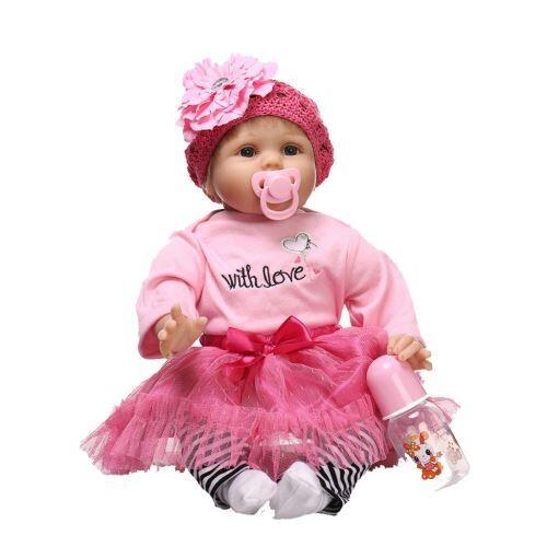 Lifelike Baby Doll Reborn Doll Nouveau-Né enfants Fille Playmate Cadeau D'Anniversaire pink RA076 - Jouets à manipuler