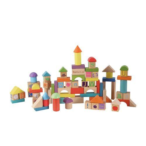 Everearth Blocs de bois 80 pièces formes multicolores - Autres jeux de construction