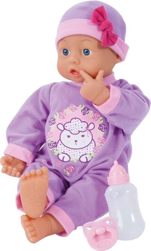 Bayer poupée bébé avec accessoires First Words 46 cm violet trois pièces - Poupon