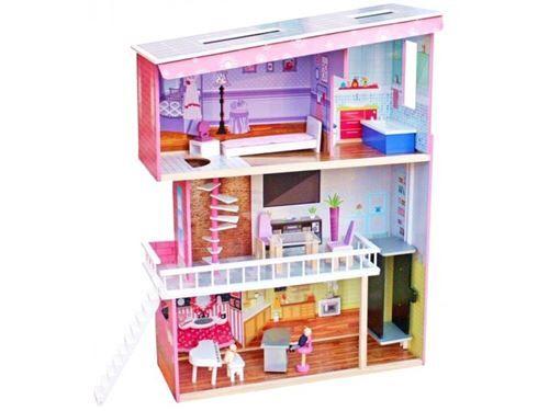 maison de poupée en bois enfant avec équipement tracy - maison de poupée