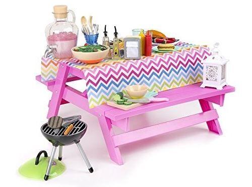 Table de pique-nique et accessoires pour poupées 46 cm - dim. 31x36x18,5cm - Accessoire poupée