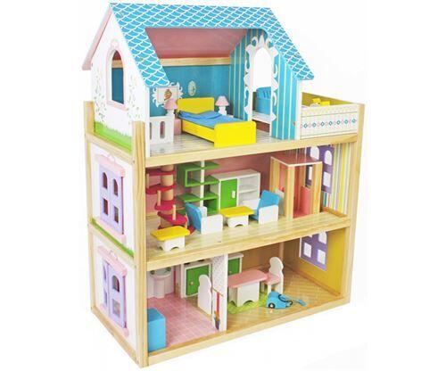 maison de poupée en bois enfant avec équipement naomi - maison de poupée