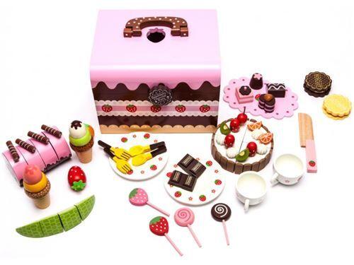 Coffret Atelier pâtisserie jeu d'imitation en bois verni 52 éléments enfant - Cuisine