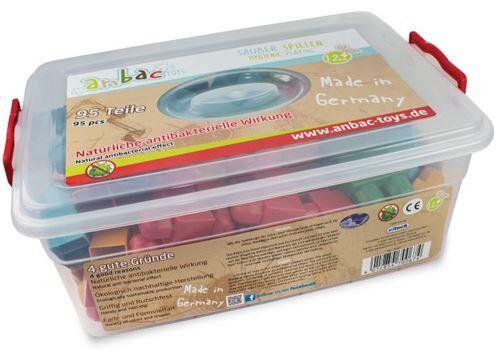 Anbac Toys blocs de construction en bois antibactérien 95 pièces - Cubes