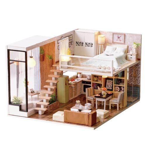 maison de poupée en bois 3d diy furniture modèle miniature cadeaux de noël jouets bt066 - autre jeu d'imitation