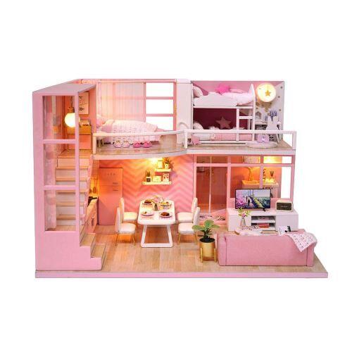 maison de poupée en bois 3d diy furniture modèle miniature cadeaux de noël jouets bt071 - autre jeu d'imitation
