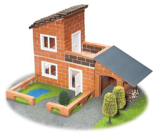 Teifoc villa en kit de construction avec garage en pierre marron 330 pièces - Autres jeux de construction