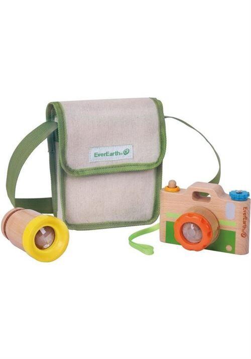 Everearth appareil photo avec objectif supplémentaire 4-pièces 12x8 cm - Autres jouets en bois