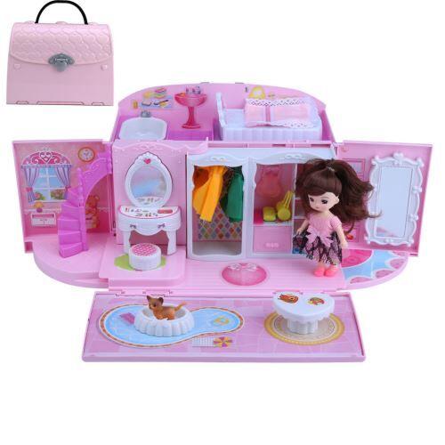 maison de poupée sac à main castle doll villa little girl maison costume pour les enfants - cuisine