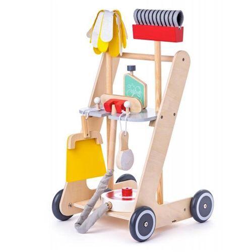 Woodybody CLEAN Chariot de ménage en bois 6 pièces - Ménage nettoyage
