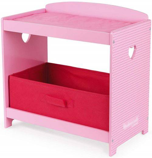 Janod Table a langer rose en bois mademoiselle avec tiroir et matelas - janod accessoire poupee - Accessoire poupée