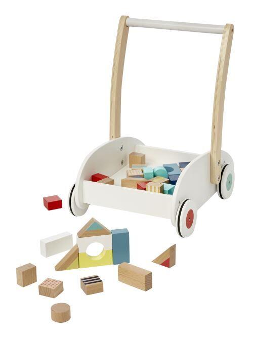 VERTBAUDET - Chariot de marche avec cubes de construction - Blanc - TU - Porteur Bois