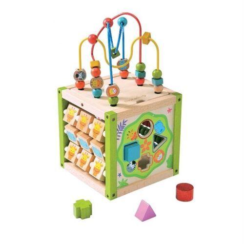 Everearth Activités cube bois cadre perle multicolore 25 cm - Jeux d'éveil