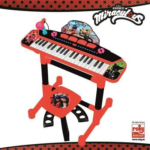 reig miraculous ladybag clavier électronique - 4 effets de percussion - 8 instruments - 8 rythmes- a piles reig - instruments de musiques