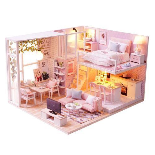 maison de poupée en bois 3d diy furniture modèle miniature de noël cadeaux jouets multicolor ra390 - jouets à manipuler
