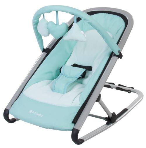 transat balancelle 2en1 bébé/enfant   dès la naissance   arche d'éveil avec jouets   dossier inclinable/harnais   cadre en aluminium   menthe - transats pour bébé