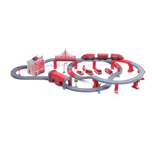 FELIX   Circuit de train 2en1 avec station poste de police + 92 éléments   Jeux de trains 2 niveaux véhicules inclus   Dès 3 ans   Rouge - Autres jeux de construction