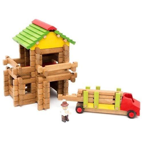 JEUJURA - Mon Premier Chalet en Bois + Camion, 94 Pieces - Autres jeux de construction