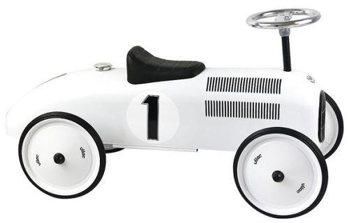 Vilac Porteur bebe - voiture de course retro en metal vilac - coloris blanc polaire - des 18 mois / 20 kg max - Trotteurs