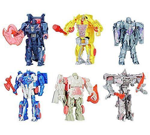 Transformers Méga Pack Coffret 6 Transformers The Last Knight - 1 Etape Turbo Changer - Révèle ton Shield - Autres figurines et répliques