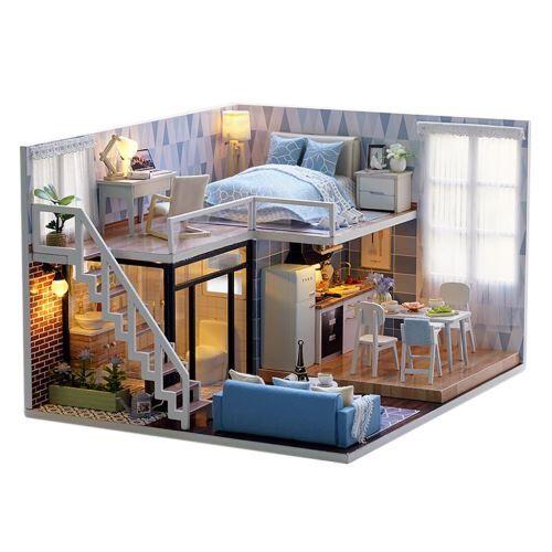 maison de poupée en bois 3d diy furniture modèle miniature cadeaux de noël jouets - atelier de bricolage