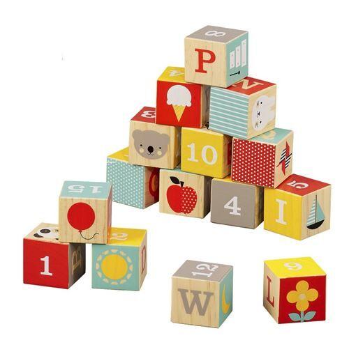 Non communiqué Petit Collage cubes de construction en bois ABC 15 pièces - Jeu de construction magnétique