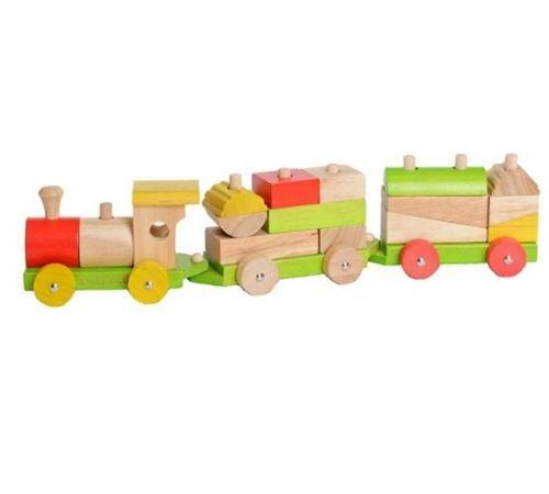 Everearth Blocs de train en bois multicolore - Jeux d'éveil