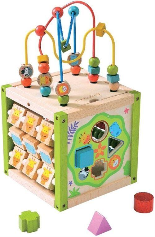 Everearth cube d'activité 20x20x20 cm - Autres jouets en bois