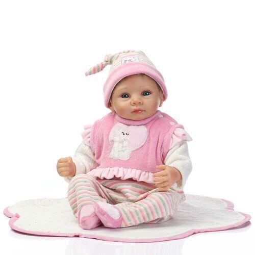 Lifelike Baby Doll Doll Nouveau-Né Enfants Fille Playmate Cadeau D'Anniversaire Rose WEN336 - Jouet multimédia