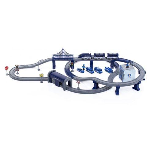FELIX   Circuit de train 2en1 avec station poste de police + 92 éléments   Jeux de trains 2 niveaux + véhicules   Dès 3 ans   Bleu - Autres jeux de construction