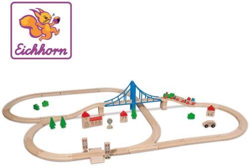 Eichhorn- Set de Chemin de Fer avec Pont-55 Pièces, 100001264 - Autres jeux de construction