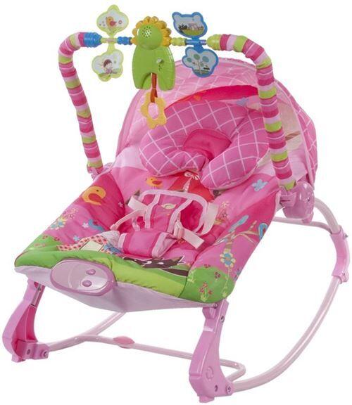 transat balancelle 2en1 bébé/enfant   dès la naissance   arche d'éveil avec jouets   vibrations&musique;   dossier inclinable/harnais   rose - transats pour bébé