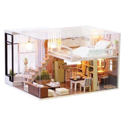 maison de poupée en bois 3d diy meubles de noël miniature modèle cadeaux jouets multicolore pt116 - jouet multimédia