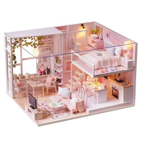maison de poupée en bois 3d diy meubles de noël miniature modèle cadeaux jouets multicolore pt118 - jouet multimédia